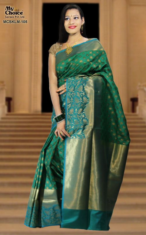 RAMA GREEN COLOR KOOLAM SILK SAREE