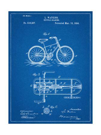 Bicycle Gearing Patent Art Print at AllPosters.com