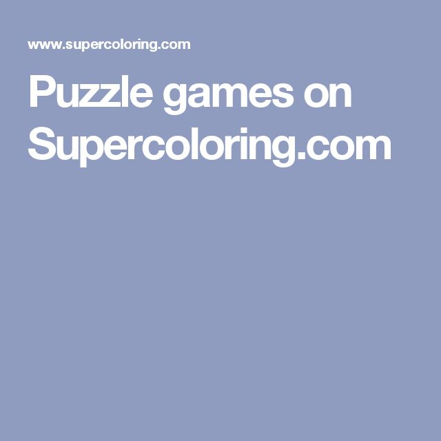 Puzzle games on Supercoloring.com