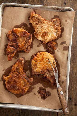 paula  deens   fried  pork chops...  love  these....its gotta be the buttermilk..  and make  gravy...  so good