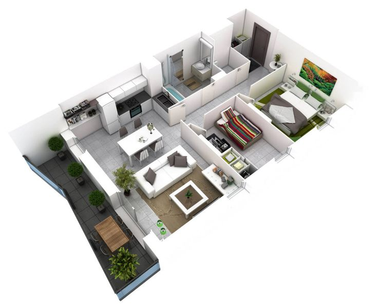 planos de departamentos de dos dormitorios seleccin de 50 diseos que te inspiraran en la construccin two bedroom housebuilding - Simple House Plan With 2 Bedrooms 3d