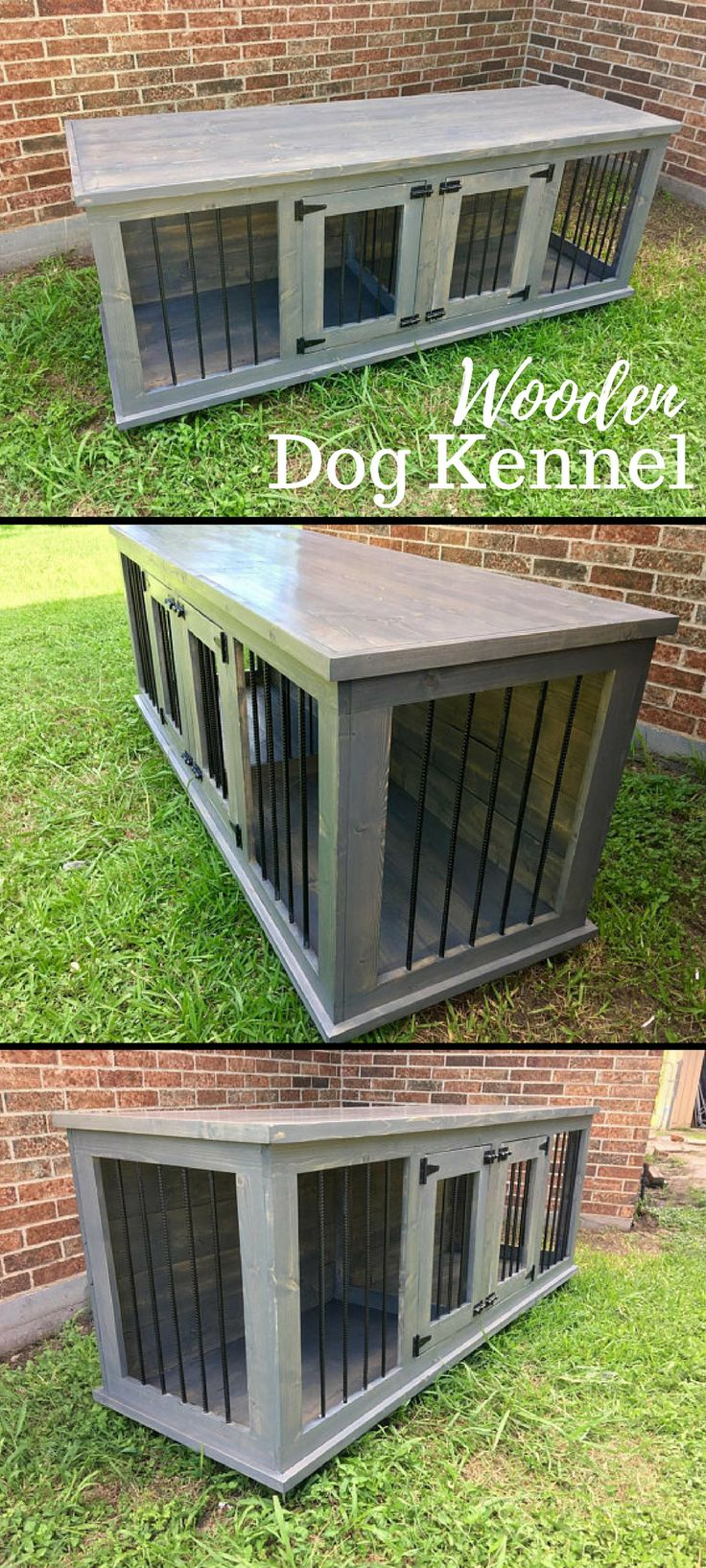 I much prefer the idea of a wooden dog kennel over an ugly dog crate. Going to get my husband to look at these plans. #rustic #DIY #ad