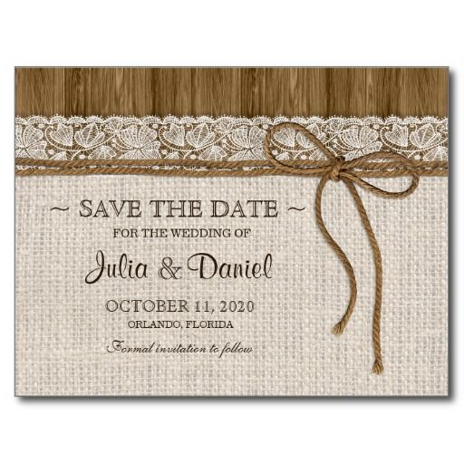 This beautiful rustic wedding save the date postcard with burlap and lace is ideal for vintage weddings, country weddings and rustic weddings.  NOTE: all parts of this save the date postcard are printed. It does not contain actual burlap, lace or twine.