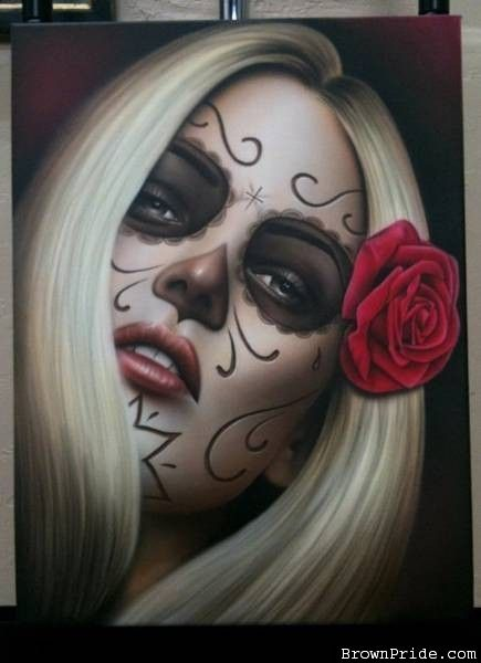 """La Muerte"" Airbrush Art on Canvas - Share your Airbrush Images on the TOP Pin Galleries: promote and rate your Images,discover the lates uploads! - www.JustAirbrush.com"