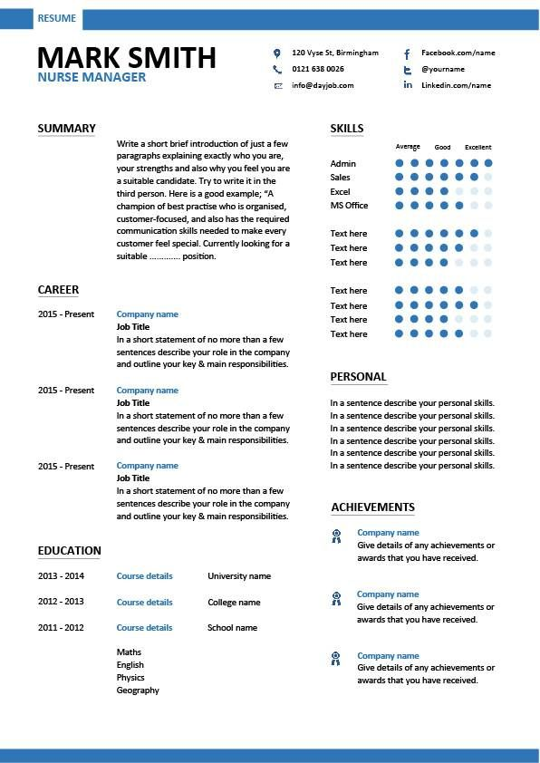 Resume Examples Nurse Manager With Images Graphic Design