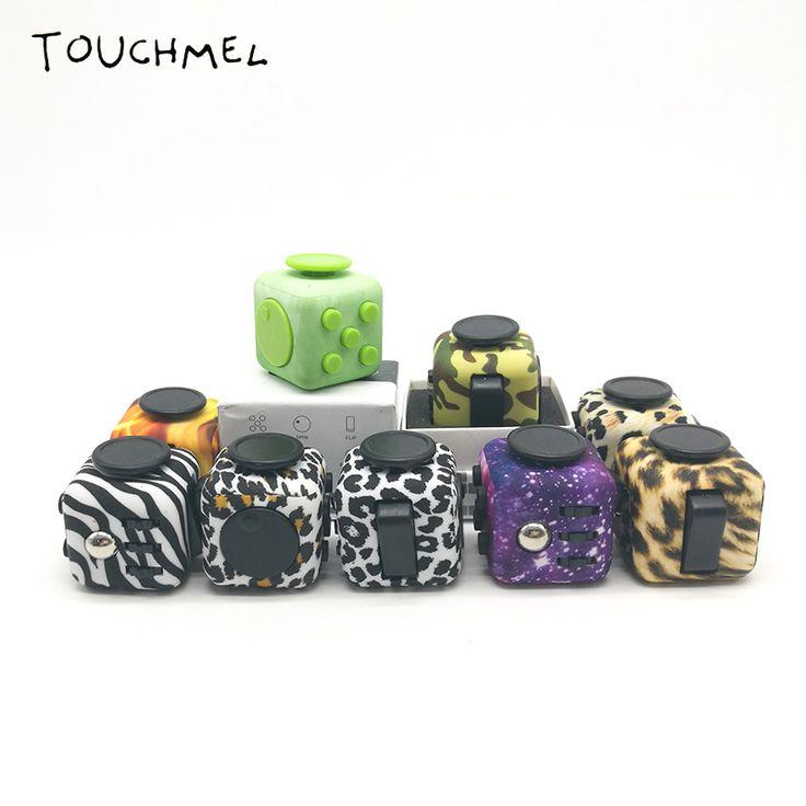 Asli Cube EDC Kamuflase Gelisah Spinner Mainan dengan Kasus Anti Stres Meja AntiStress Ventilasi Mainan