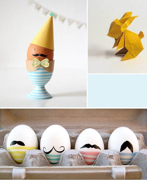 That egg with the party hat and mustache is too cute!    Oh the lovely things: Easter DIY Roundup