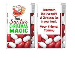 Personalized Christmas Party Favors Tic Tac Candy Labels - Santa's Christmas Magic. A cute, unique Christmas gift idea. Would be a perfect gift for your child to give to classmates, students and teachers during his or her winter party at school. Also a fun idea for a secret santa present.