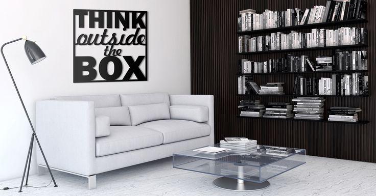 Think outside the box - napis 3D na ścianę Twojego salonu. Ceny od 36zł. #dekoracja #napis3D #napis #na #ścianę