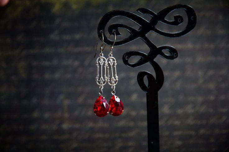 """Купить Серьги с кристаллами Сваровски """"Алые розы"""" - ярко-красный, красный, красные серьги, earrings, red, swarovski"""