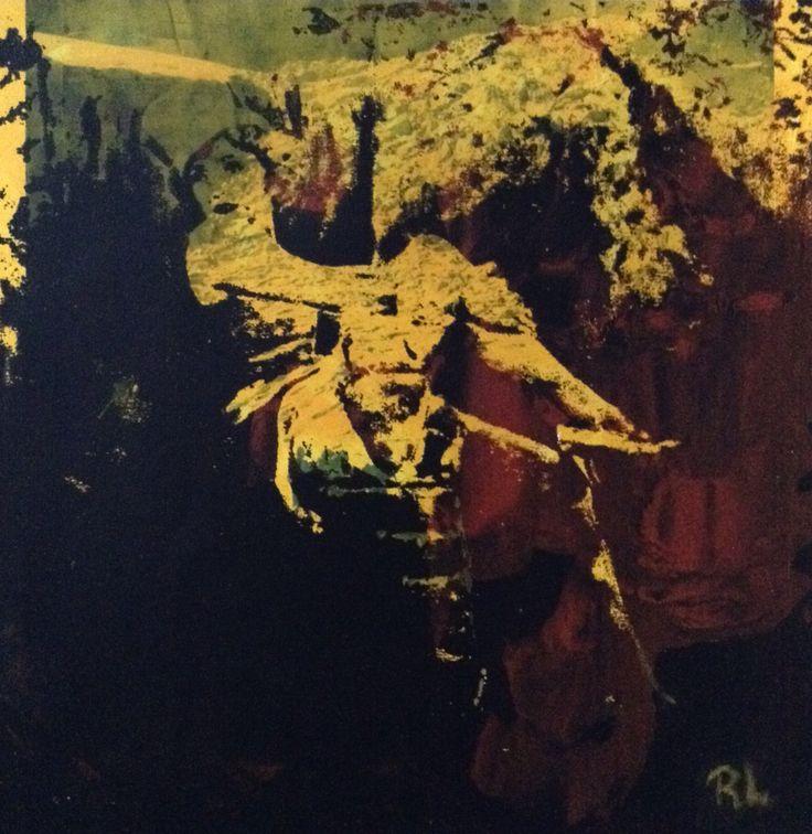 #Malene Dietrich in yellow#recycle#paper#20x20#rithva.dk