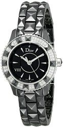 Christian Dior Women's CD1221E1C001 Black Eight Analog Display Swiss Quartz Black Watch