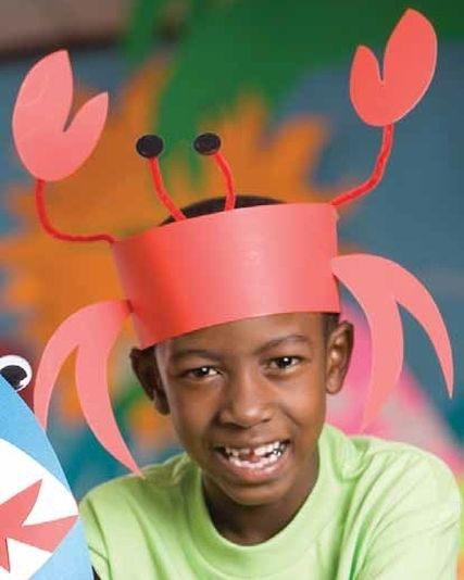 Crab and shark headbands and paper plate crab