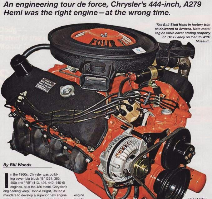 Chrysler's Experimental 444ci Ball Stud Hemi (only 12 Were