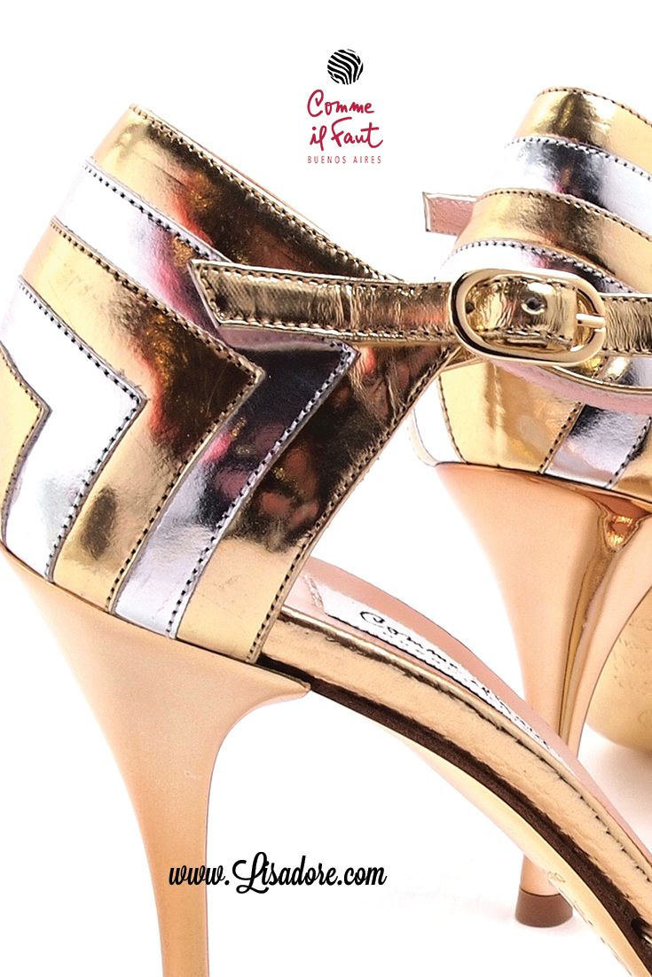 Comme il Faut - Versailles made exclusive for Lisadore Beautiful Gold and Silver Patent Leather Dancing Shoes  for Tango, Salsa and Bachata.