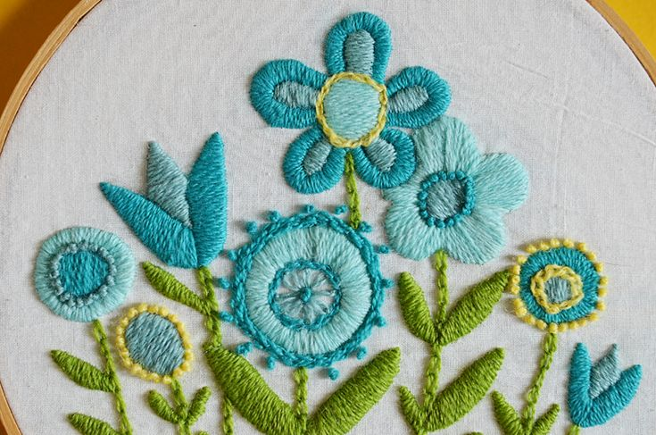 Vintage Blue Flower Crewel Embroidery