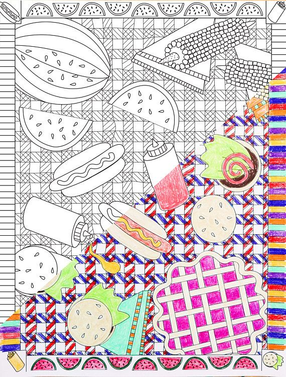Printable Picnic Coloring Page Summer Barbecue Coloring Page