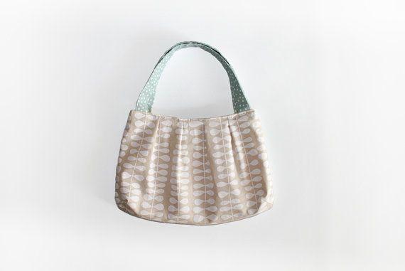 White purse  white fabric handbag ivory mint bag by MihotchStitch