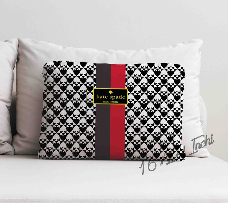 "Kate Spade Gold Stripe Custom Decorative Throw Pillow Case 16"" x 24"" #Handmade #pillowcase #pillowcover #cushioncase #cushioncover #best #new #trending #rare #hot #cheap #bestselling #bestquality #home #decor #bed #bedding #polyester #fashion #style #elegant #awesome #luxury #custom #katespade #gold #stripe #bag #logo"