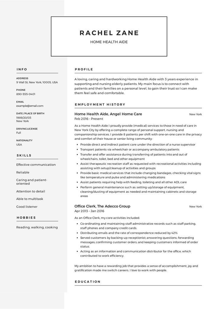 Home Health Aide Resume, template, design, tips, examples