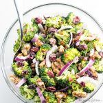 Easy Broccoli Cranberry Salad Recipe with Bacon and Walnuts