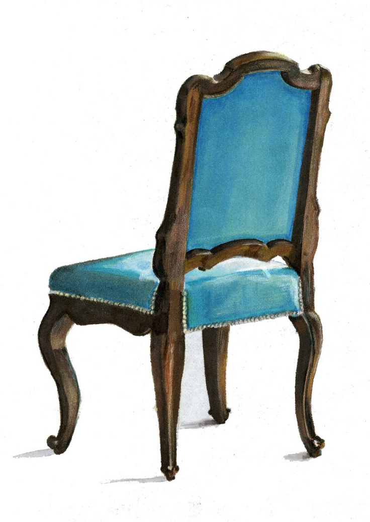 Velvet and Wood Chair. Prismacolor Marker on Marker Paper.