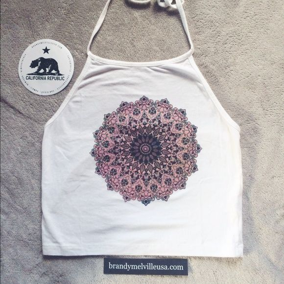 SaleBrandy Melville Mandala Sachi Brand new with tags Brandy Melville mandala cropped sachi halter. The top is in excellent condition having never been worn.                                                           NO TRADES Brandy Melville Tops Crop Tops