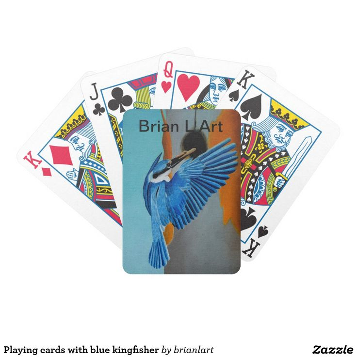 Playing cards with blue kingfisher