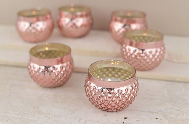 Set of 12 ROSE GOLD MERCURY Hobnail Glass Votive Candle Holders Bulk Lot for Wedding nye Event Celebration Party by KitAndCaboodleSupply on Etsy https://www.etsy.com/listing/258700424/set-of-12-rose-gold-mercury-hobnail