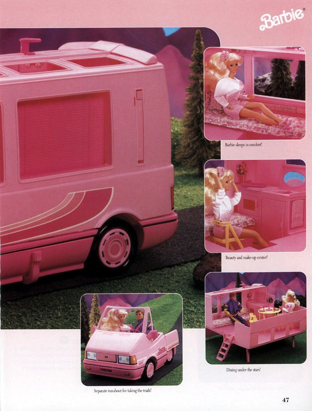 And when Barbie really wants to relax and get away from it all, she has her own motorhome. Which comes with its own beauty and makeup center, 'cause just because you're camping doesn't mean you should slouch on the glamour. | The 19 Most Ridiculously Awesome Things About This 1991 Barbie Catalog