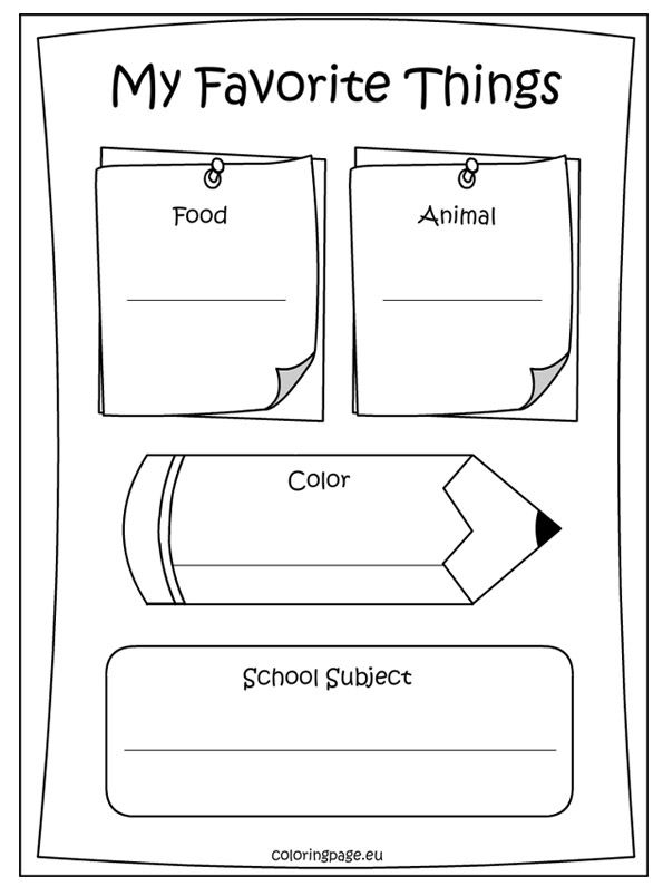memory book my favorite things coloring page preschool ideas pinterest book coloring. Black Bedroom Furniture Sets. Home Design Ideas