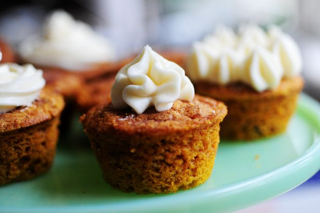"*Moist Pumpkin Spice Muffins or cake (With Cream Cheese Frosting) I put less sugar. can substitute cream chese w 1/2C yogurt. http://thepioneerwoman.com/cooking/moist-pumpkin-spice-muffins-with-cream-cheese-frosting/  Raw batter should not be >2"" high in the baking pan. A thin layer on a large pan turns out better than a thick layer in a breadloaf pan."