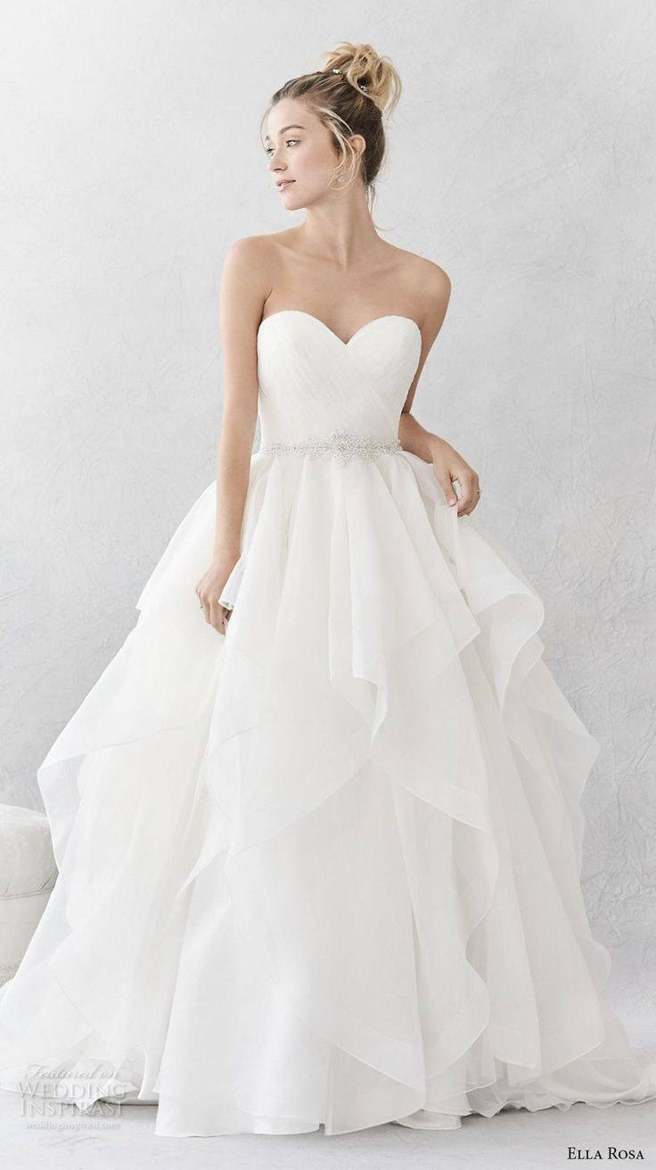 ella rosa spring 2017 bridal strapless sweetheart neckline wrap over bodice simple layer skirt ball gown a  line wedding dress open back chapel train (376) mv