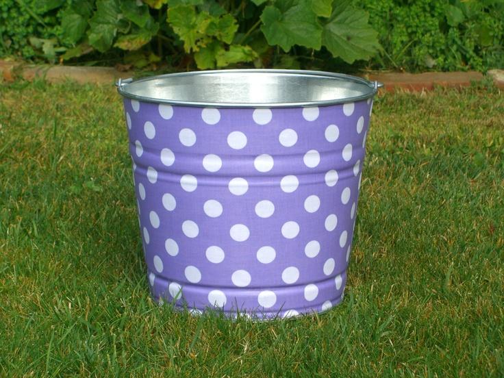 Storage Bucket Fabric Covered Lavender and White Polka Dot. $28.00, via Etsy.
