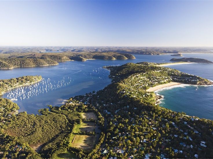Amazing Shot. Pittwater and Careel Bay to the left, Whale Beach on the right, looking up to Palm Beach, Lion Island, entrance to the Hawkesbury River. Sydney NSW.