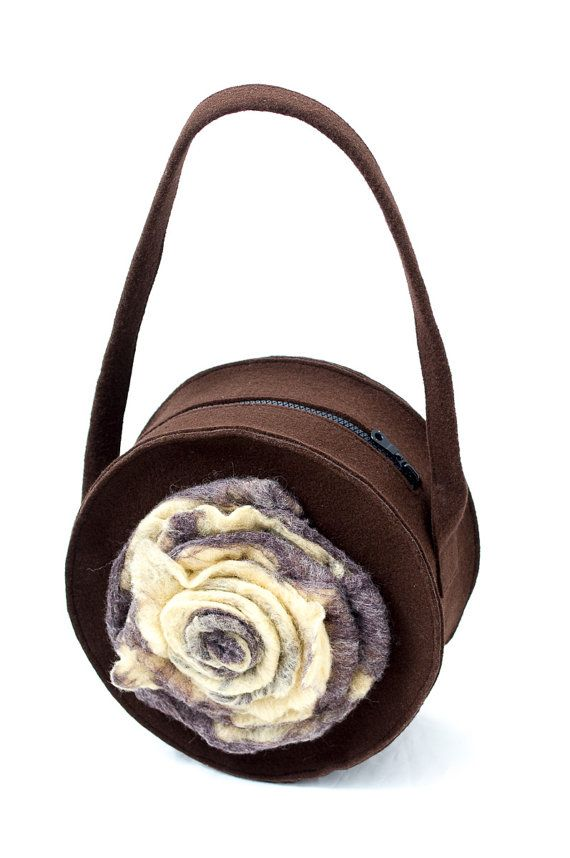 Round felt brown bag with big felted flower. Handmade by Anardeko