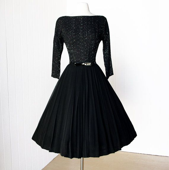 vintage 1950's dress ...classic BLACK CHIFFON and silver fleck sweater girl knit bodice full skirt pin-up cocktail party dress