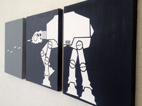 Star Wars Ombre Canvas Art by adapperduck on Etsy, $24.99 #atat #walker #maytheforcebewithyou