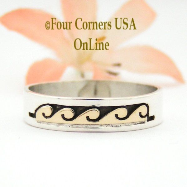 Four Corners USA Online - Size 12 1/2 Ring 14K Gold and Silver Wave Water Symbol Wedding Band Style Navajo Scott Skeets NAR-1601, $65.00 (http://stores.fourcornersusaonline.com/size-12-1-2-ring-14k-gold-and-silver-wave-water-symbol-wedding-band-style-navajo-scott-skeets-nar-1601/)