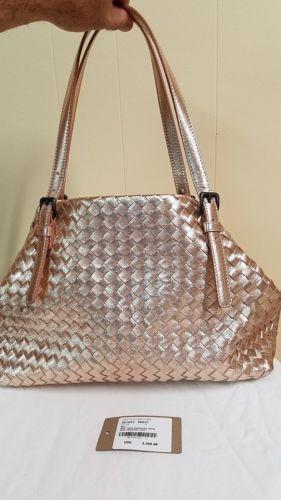 NEW BOTTEGA VENETA ROSE GOLD INTRECCIATO METALLIC GROSGRAIN LEATHER handbag   864ea24402721