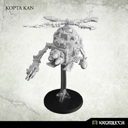 This set contains one high quality resin multi part model of Kopta Kan. Inside you will find parts for front mounted rocket launcher or twin heavy machine gun and two mechanical arms, one with big bomb and the other with buzzsaw. One 40mm round plastic base and two Kromlech flying pegs included. Designed for 28mm heroic scale.
