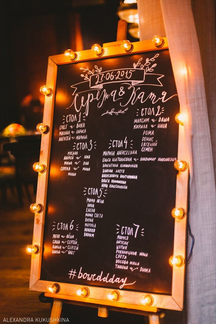 Рассадка гостей на меловой доске с подсветкой