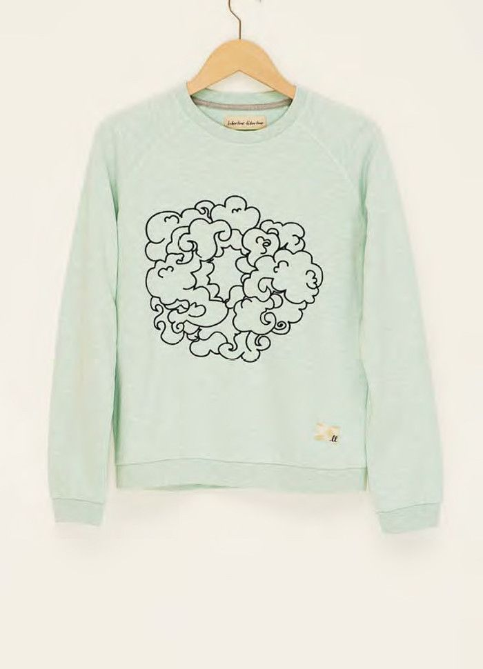 Mint sweatshirt with embroidered cloud print.