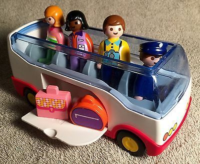Great Playmobil Bus w/ 4 Figures And Suitcases - Great Used Toy