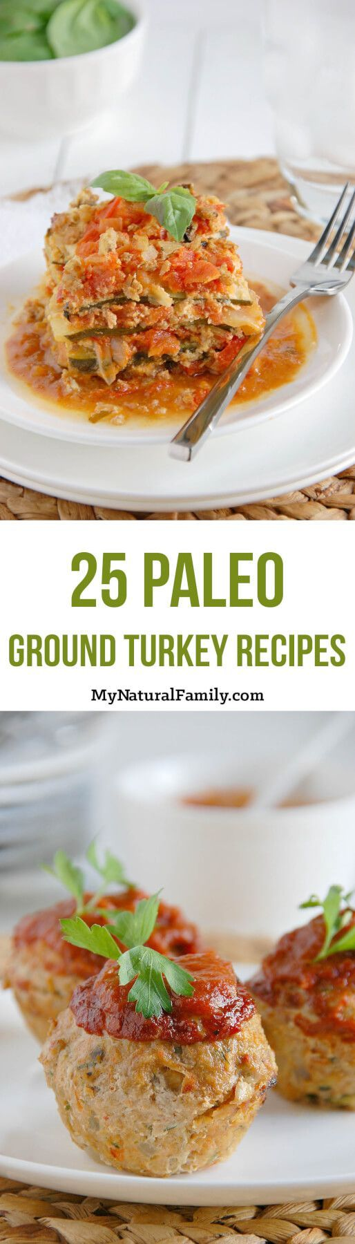 25 Paleo Ground Turkey Recipes. Ground turkey is a lean protein that can be used in place of chicken or beef. Save this pin to refer to next time you need a healthy recipe and want to use ground turkey!