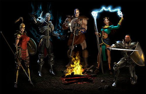 diablo 2 characters great game still my favorite until this era, if i were to choose between diablo 3 or 2 i will still play the epic diablo 2 multiplayer..its not yet online in our time i use to play it pag naulan sarap mag pa level up! i ended up leveling my necromancer at level80 beating diablo, my friend and i use to hunt him down and we sell epic items on our neighborhoods