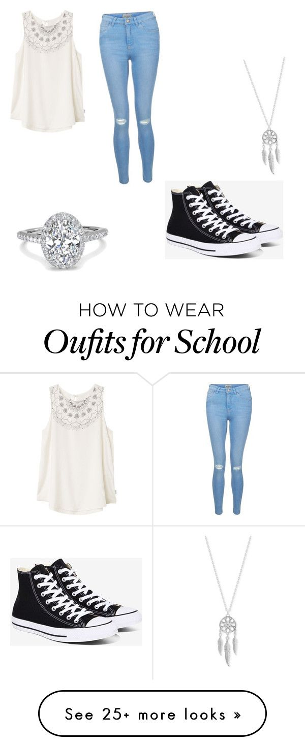 """""""School day"""" by skylyn25 on Polyvore featuring RVCA, New Look, Converse and Lucky Brand"""