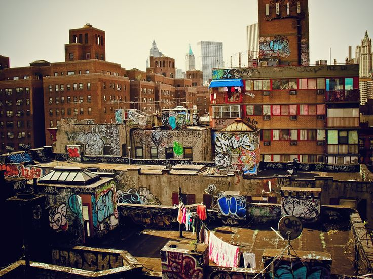 Chinatown Rooftop Graffiti - New York City....and people live there wondering why no one uses a dryer for their clothes