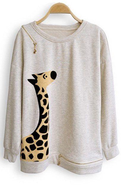 Beige Giraffe Print Batwing Long Sleeve Zipper Embellished Sweatshirt ~adorable!