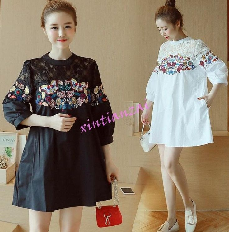 Womens Long Sleeve Lace Floral Pregnant Lady Dress Cotton Blend Shirt Blouses